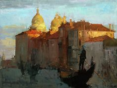 """Last Light on Santa Maria Della Salute"" by Jove Wang, 2010, 30"" x 40"", oil on canvas"