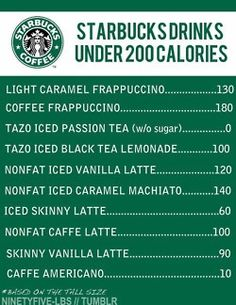 Good to know: Starbucks Drinks Under 200 Calories