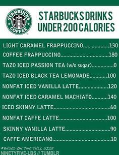 Good to know: Starbucks Drinks Under 200 Calories