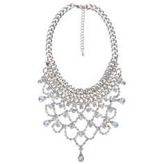 Limited Silver Diamante Chain Chunky Necklace ($32) via Polyvore