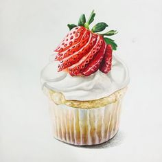 of drink water water aesthetic water clipart water funny water meme water motivation water quotes Cupcake Drawing, Cupcake Art, Fruit Recipes, Sweet Recipes, Food Sketch, Watercolor Fruit, Food Painting, Mouth Watering Food, Cute Desserts