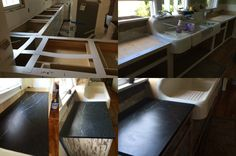 A before and after of template and installation of our PA Soapstone Soapstone Counters, Countertops, Loft, Template, Bed, Kitchen, Furniture, Home Decor, Vanity Tops