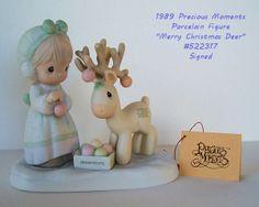 RARE 1989 Precious MOMENTS ~ Merry CHRISTMAS (Rein)Deer ~ #522317 ~$120V