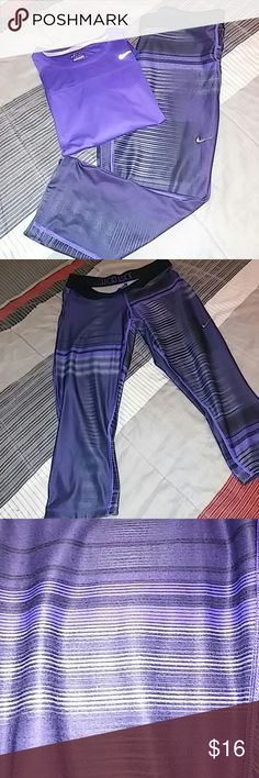 Nike Dri Fit running capris 💜 top available too Nike Dri Fit running Capris.💜 They have draw string and even a little pocket on back.. 💜 Bundle with top and save. Top is xl that why i seperated.  Make an offer 💜 Nike Pants