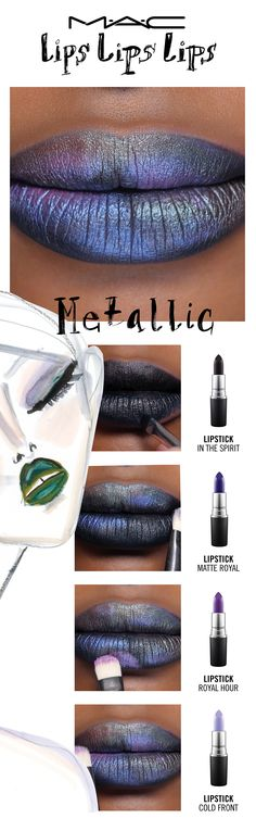 Flaunt some opulence with The Oil Slick Metallic. Lips receive the royal touch in jewel-toned metals. Try a lip trend, then make it your own! Your choice. Your creation. Your trend.  Created by Senior Artist Melissa Gibson, inspired by Senior Artists Rebecca Butterworth & Nicole Thompson.