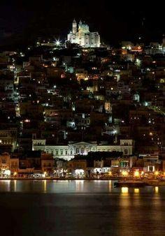 Syros island at night, Greece Mykonos, Santorini, Wonderful Places, Beautiful Places, Syros Greece, Places To Travel, Places To Go, Places In Greece, Greek Isles