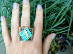 Turquoise and Gold Leaf Ring