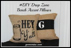 These pillows make me happy =) #DIY Drop Zone Decor and Accents | gomominc.com