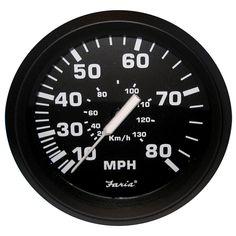 "Faria Euro Black 4"" Speedometer - 80MPH (Mechanical) - https://www.boatpartsforless.com/shop/faria-euro-black-4-speedometer-80mph-mechanical/"