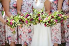 Country style wedding flowers for the bride and her bridemaids. Hand tied blend of english country flowers. www.enchantedflorals.co.uk