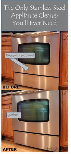 The Only Stainless Steel Appliance Cleaner You'll Ever Need - Put a little olive oil on a piece of soft paper toweling (I use Viva brand) and start rubbing it into the stainless. In no time at all you'll begin to see the difference. Household Cleaning Tips, Household Cleaners, Cleaning Recipes, House Cleaning Tips, Spring Cleaning, Cleaning Hacks, Cleaning Supplies, Cleaners Homemade, Diy Cleaners