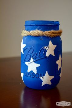 American Flag 4th of July Decor Mason Jar Stars by GoldenUpcycling