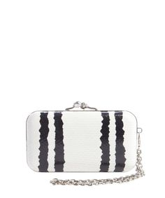 Alexander McQueen white and black embossed leather skull clasp clutch