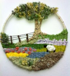 ^ I really like this circular weaving and I'm wondering how this might translate into a rectangular orientation. Isn't that tree and fence great? Weaving Textiles, Weaving Art, Tapestry Weaving, Loom Weaving, Fabric Weaving, Weaving Patterns, Hand Weaving, Yarn Crafts, Diy Crafts