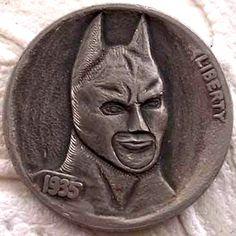 FINN La RUE - BATMAN - 1935 BUFFALO NICKEL Hobo Nickel, Coin Art, Paper Cutting, Making Out, Coins, Batman, Carving, Buffalo, Superhero