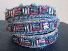 Bracelet - Triple Wrap Hand Beaded Denim - Recycled Jeans - Pink, Blue, and Silver - Upcycled