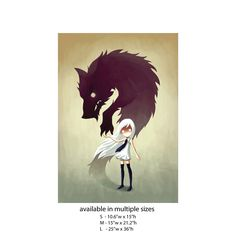 A ferocious twist on a fairy tale! We've turned this girl and wolf art from Lithuanian illustrator and digital artist, Indre Bankauskaite into an eerie fairy tale animal art wall sticker decal. Werewolf captures a young girl with glowing eyes and flowing white hair with the shadow of a dangerous looking werewolf spiraling up the wall behind her. Is she about to be devoured or will the young girl persevere? You can decide. The manga style girl and wolf wall decal is available in 3 sizes…