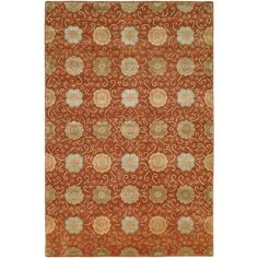 "Nirvana Rust (Red) Hand-Knotted Area Rug (2'6"" x 10') (NR-930 2610), Size 2'6"" x 10' (Viscose, Dots)"