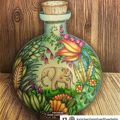 Impressionante! By @kristenlambertbedelis #MagicalJungle #selvamagica #desenhoscolorir #johannabasford #jardimsecreto #florestaencantada #secretgarden Finished! 'Jumbo in a Bottle' from Magical Jungle #johannabasford #magicaljungle. First time I've drawn and coloured a background. Am happy with the result although it was nerve wracking doing it! Used #fabercastell Polychromos and a Uniball black pen to create the wood pattern by layering black dots  #coloringbook #livrodecolorir