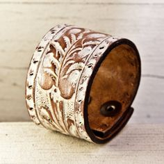 Really cool leather cuff-Unique Jewelry OOAK. $35.00, via Etsy.