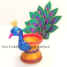 Diya Decoration Ideas | Easy Diya Decoration | Diwali Craft Ideas | DIY Peacock Diya Decoration Diwali Diya, Diwali Craft, Diya Decoration Ideas, Peacock, Captain Hat, Diy Crafts, Crafty, Hats, Unique