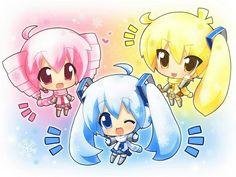 Miku , Neru and teto chibis