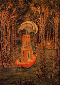 Hallazgo, 1956. Óleo sobre masonite. 78x69 cm. Colección particular. Surrealismo.  Remedios Varo. (Oil on masonite panel).