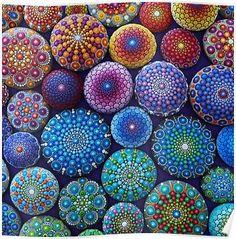 'Rainbow Mandala Stone Collection' Photographic Print by Elspeth McLean Mandalas Painting, Mandalas Drawing, Dot Painting, Stone Painting, Pebble Painting, Lotus Mandala, Mandala Rocks, Elspeth Mclean, Art Pierre