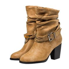 Eclimb Women Chunky Heel Bandage Western Style Cowboy Boots *** Details can be found by clicking on the image.