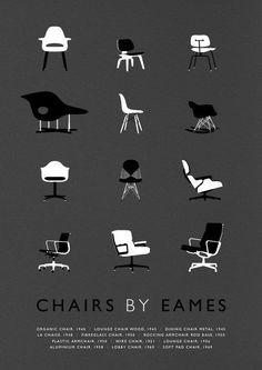Eames poster art print Mid Century Modern Chair illustration — James Weaver