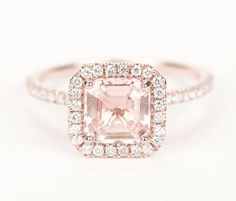 Certified Peach Pink Champagne Asscher Sapphire Diamond Halo Engagement Ring 14K Rose