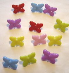 12 Colourful Plastic Butterfly Buttons £1.50