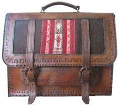 Porta documentos tipo mochila 1 bolsillo con aguayo - Piel Genuina - Caserita.com Bolivia