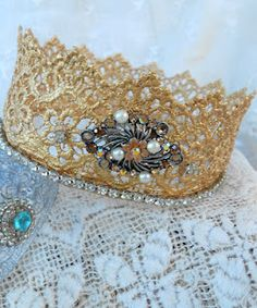 Lace Crown -- Quick Microwave Method    A great way to repurpose bits of vintage jewelry.