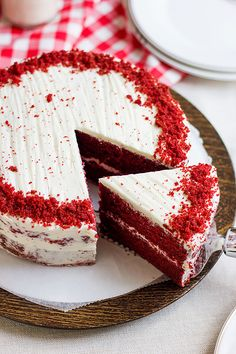 Fireworks, friends and food. Throw a party for Canada Day and serve this fluffy, soft, buttery and moist red velvet cake. Summer Desserts, Easy Desserts, Delicious Desserts, Dessert Recipes, Easy Red Velvet Cake, Birthday Sheet Cakes, Cake Decorating For Beginners, Cake Day, Sheet Cake Recipes