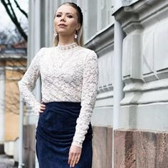 Glam look by Anna Valkia Tiger Of Sweden, Classic White, Silk Top, Red And Pink, Lace Skirt, Fashion Beauty, Anna, Feminine, Velvet