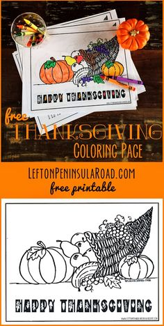Printable Thanksgiving Coloring Page | Left on Peninsula Road