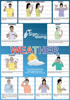 Weather Poster, J) Posters, Signalong Store Sign Language Chart, Sign Language Phrases, Sign Language Alphabet, Learn Sign Language, British Sign Language, Makaton Printables, Makaton Signs British, Asl Signs, Sensory Activities