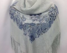 Check out White Piano Shawl,  Blue Floral silk scarf, Religious Cover up, 40X40 Fringe scarf, Sparkly White Silk Shawl, Anniversary Gift for Mother, on blingscarves