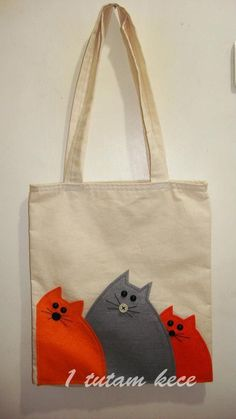 Cloth bag with cat # cloth bag - Tiere & Lebensstil Fabric Crafts, Sewing Crafts, Sewing Projects, Cat Bag, Jute Bags, Patchwork Bags, Bag Patterns To Sew, Denim Bag, Fabric Bags