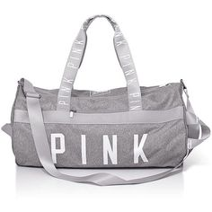 Victoria's Secret PINK Gym Duffle Tote Bag ($69) ❤ liked on Polyvore featuring bags, handbags, tote bags, victoria's secret, gray tote handbags, gray purse, grey handbags and grey purse
