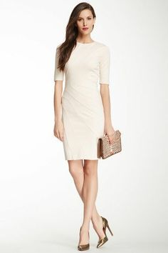 Stylish dress for the office in cream