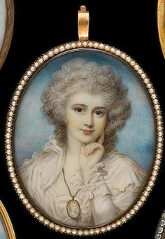 After Richard Cosway, RA Maria Cosway (née Hadfield) wearing white dress with ruffles at the neck and wrist, an oval miniature on a blue ribbon hanging around her neck, her left hand raised to her chin, her hair curled and powdered Miniature Portraits, Miniature Paintings, Lovers Eyes, John Smith, Blue Ribbon, Curled Hairstyles, Architecture Art, 18th Century, Vintage Antiques