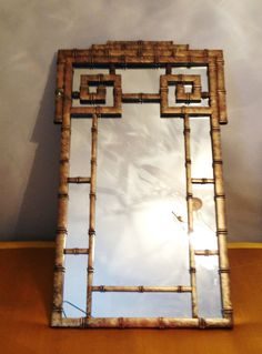 Large Chinoiserie Greek Key Gold Mirror Hollywood Regency