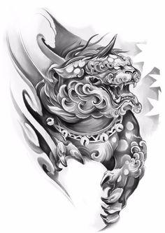 Foo Dog Tattoo Design, Buddha Tattoo Design, Angel Tattoo Designs, Tattoo Sleeve Designs, Sleeve Tattoos, Japanese Tattoos For Men, Japanese Flower Tattoo, Japanese Tattoo Designs, Koi Dragon Tattoo