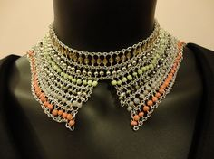 Delicate Metal and Multi Color Beads Choker by OMyGlam on Etsy
