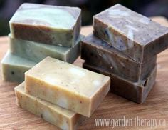 Cold Process All-Natural Handmade Soap. Recipes for Lemongrass Ginger Coffee Kitchen Soap, Rosemary Spearmint Energizing Shower Soap, and Orange Vanilla Cinnamon Soap.