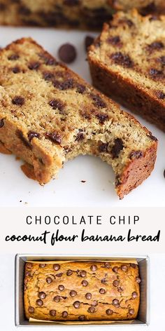 Healthy Snacks Discover Simple Chocolate Chip Coconut Flour Banana Bread This coconut flour banana bread can be mixed together all in one bowl with 10 simple ingredients. Its sweetened only with bananas but still deliciously sweet! Coconut Flour Banana Bread, Coconut Flour Recipes, Gluten Free Banana Bread, Banana Bread Recipes, Keto Bread, Banana Recipes Simple, Coconut Flour Baking, Simple Banana Bread, Flaxseed Meal Recipes