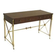 Brass and Wood Desk by Kittinger USA 1950's