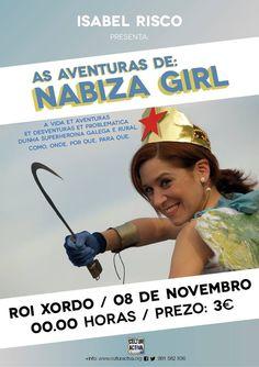 Nabiza Girl (Isabel Risco) en Café Cultural Roi Xordo, Allariz escea escena comedia monólogo